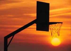 Basketball hoop at Sunset